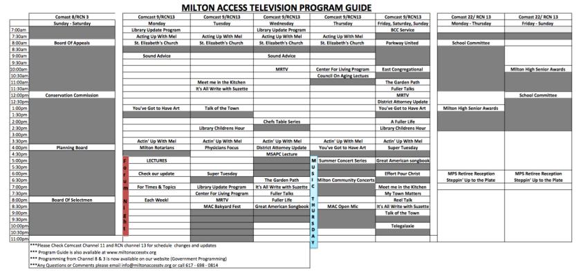 Milton Access TV Schedule